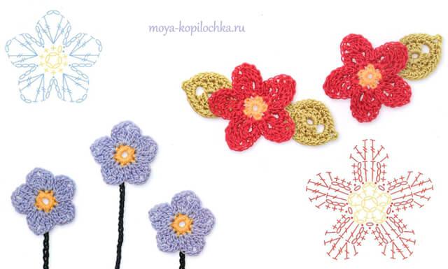 Flores para tejer con ganchillo