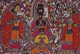 This organic relationship between the performing arts and the visual expression in images must be noticed as an important departure point in the making of images. In eastern India and in Rajasthan scrolls were taken in procession and unfolded before the folk with the myth or legend recited.
