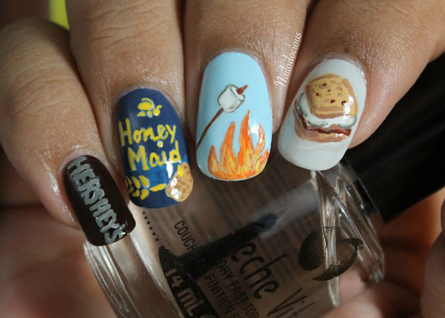 smores nails, s'mores nails, s'mores
