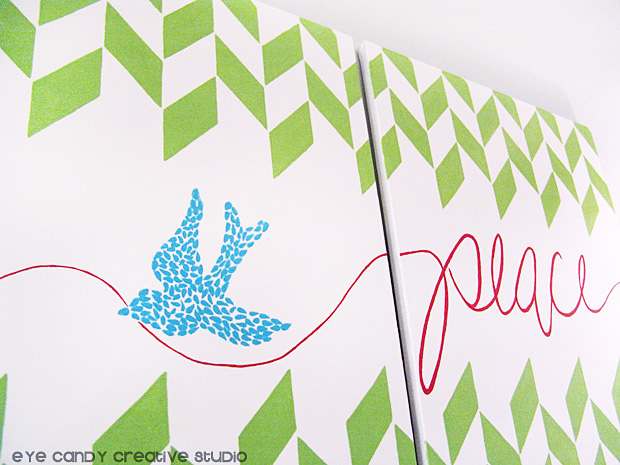 creating christmas wall art, painting canvas, peace, royal design studio