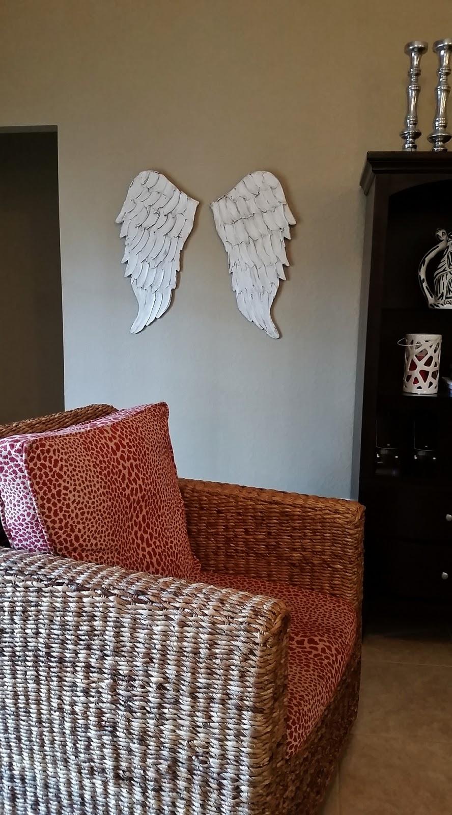 Unique angel wings carved wood look
