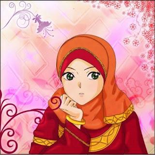 Animasi kartun muslimah cantik bersedih