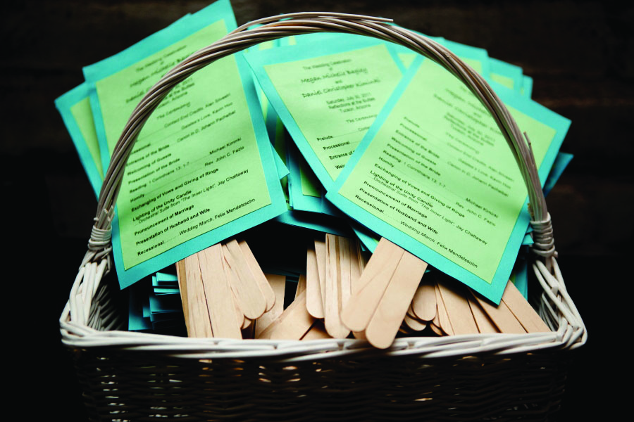 Guest were handed these simpley cute yet useful wedding programs
