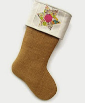 BURLAP AND QUILTED CHRISTMAS STOCKING