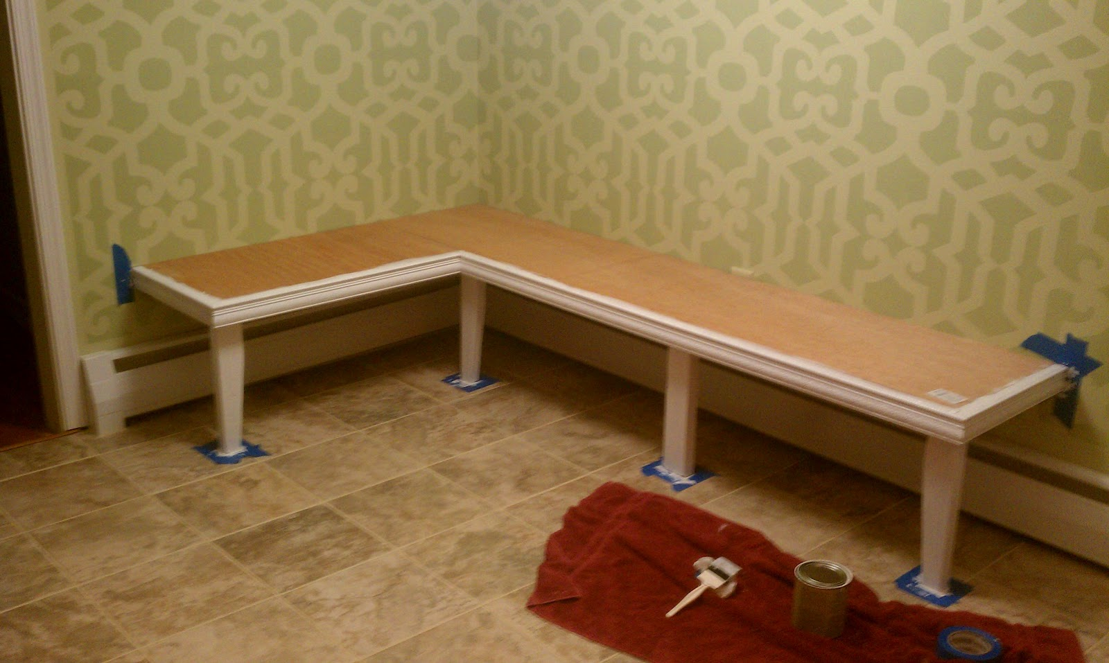 For all things creative my diy kitchen banquette for Banquette bench