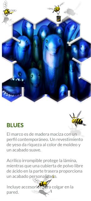 BLUES - COMPRAR CUADRO ::: El marco es de madera maciza con un perfil contemporáneo. Un revestimiento de yeso da riqueza al color de moldeo y un acabado suave.