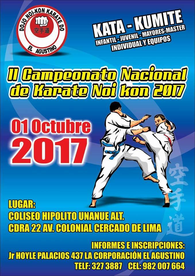 "II CAMPEONATO NACIONAL DE KARATE ""Copa NOI KON 2017"" Lima-Perù"