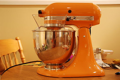 Orange KitchenAid stand mixer