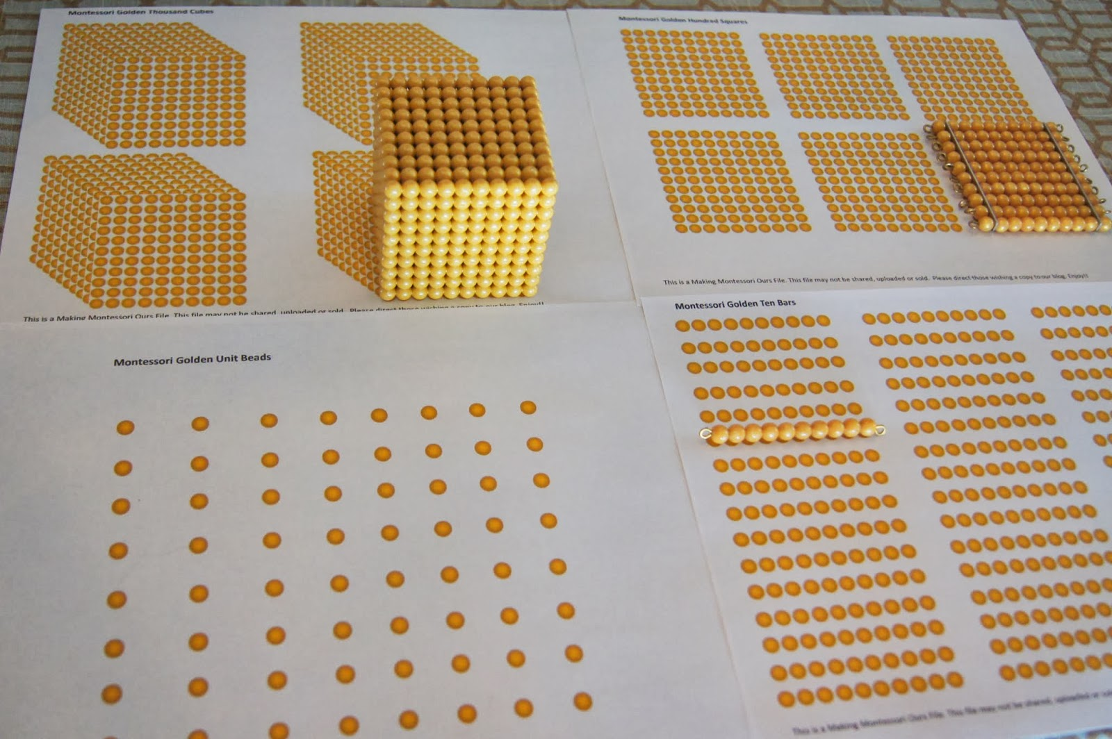 montessori golden bead complete materials printable