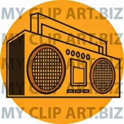 Retro Boom Box Clip Art