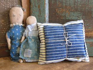 Antique Ticking Doll Pillows