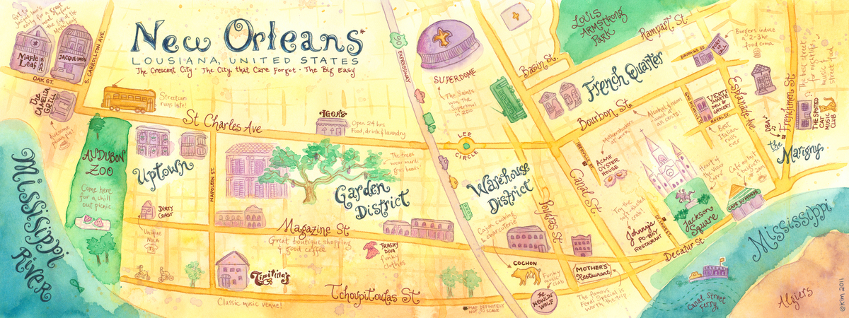 lil kims illo blog Illustration Friday Stay – Tourist Map New Orleans