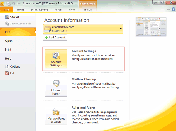 change outlook folder permissions in by Account Settings