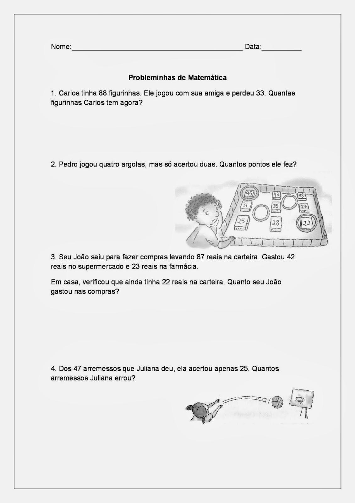 Tarefas de Matemática para Imprimir - Adição e Subtração - Parte 3
