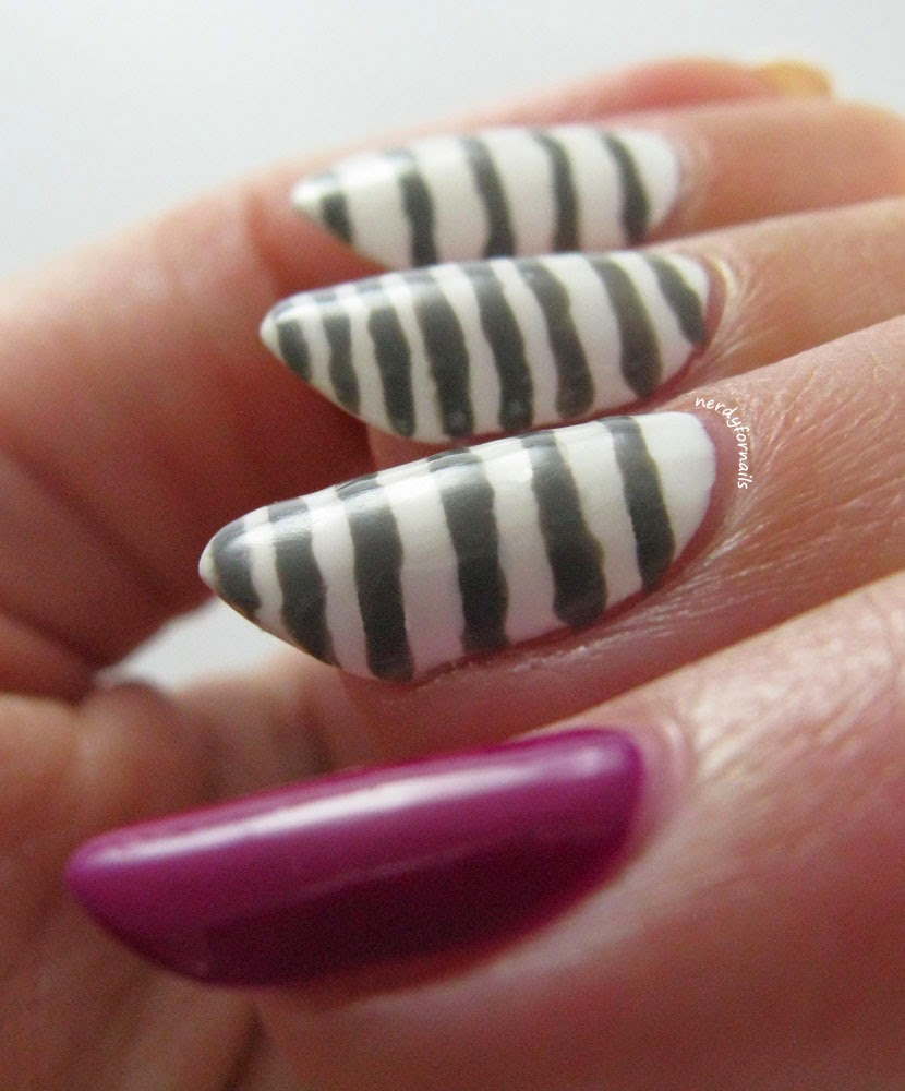 Grey stripes on white background with orchid accent nail