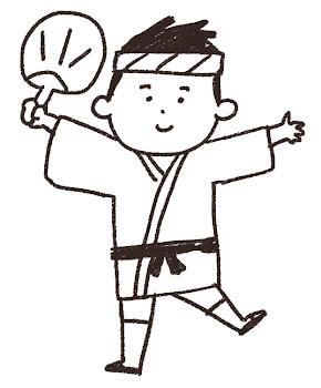 お祭りのイラスト「ハッピを着た男の子」 線画