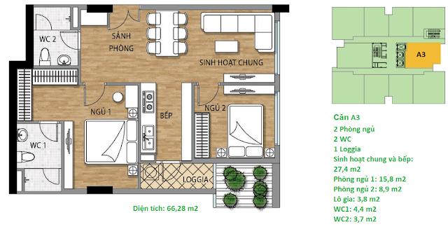 Căn hộ A3 diện tích 66,28 m2 tầng 4-15 - Valencia Garden