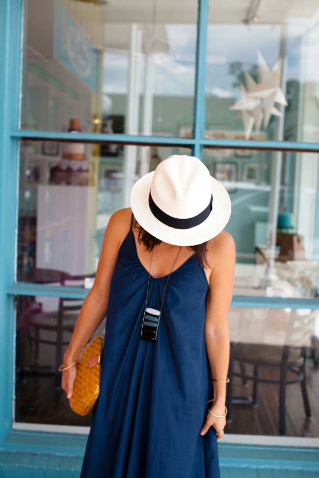 maxi dress, panama hat