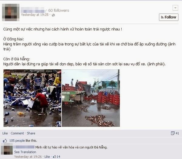 Sự đối lập giữa Đồng Nai và Đà Nẵng trước tai nạn đổ bia giữa đường