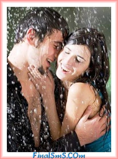 girl and boy romance in rain saying