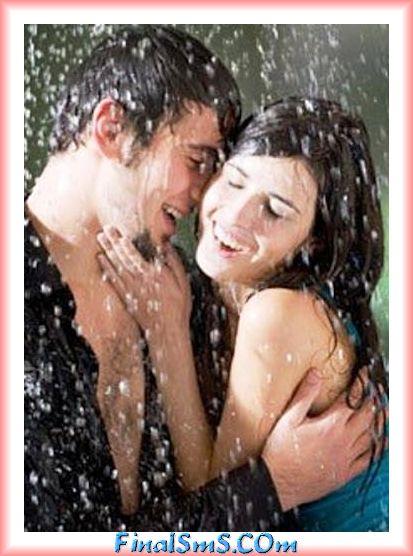 girl and boy romance in rain saying
