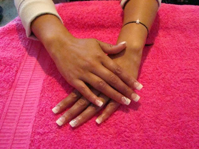 Young mum having some fun... classic french white acrylics - Nail Art