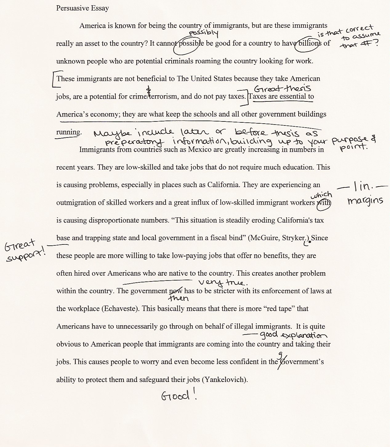 what is a thesis in persuasive writing