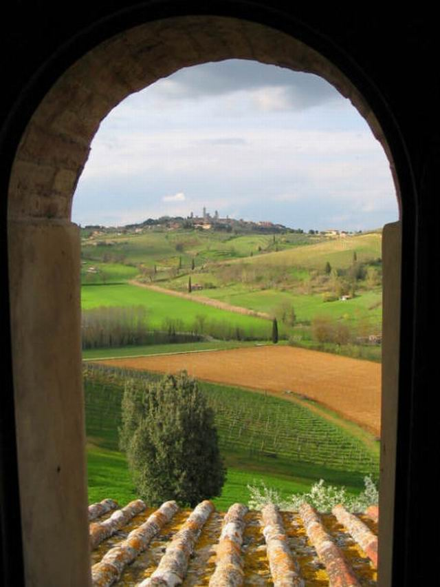 Window view, Tuscany, Italy photo