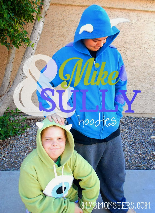 Celebrate #MonstersU with these DIY Mike and Sully Hoodies at my3monsters.com  sc 1 st  My 3 Monsters & My 3 Monsters: DIY Mike u0026 Sully Hoodies#MonstersU
