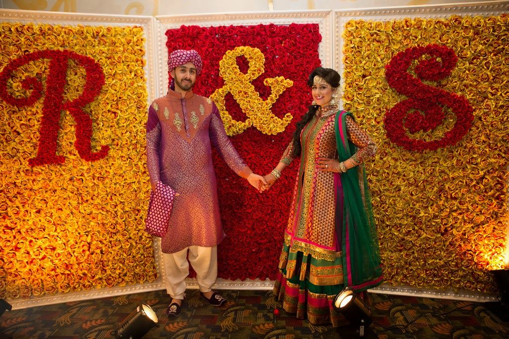 indian wedding, mehndi, portraits, photobooth, rose wall, backdrop