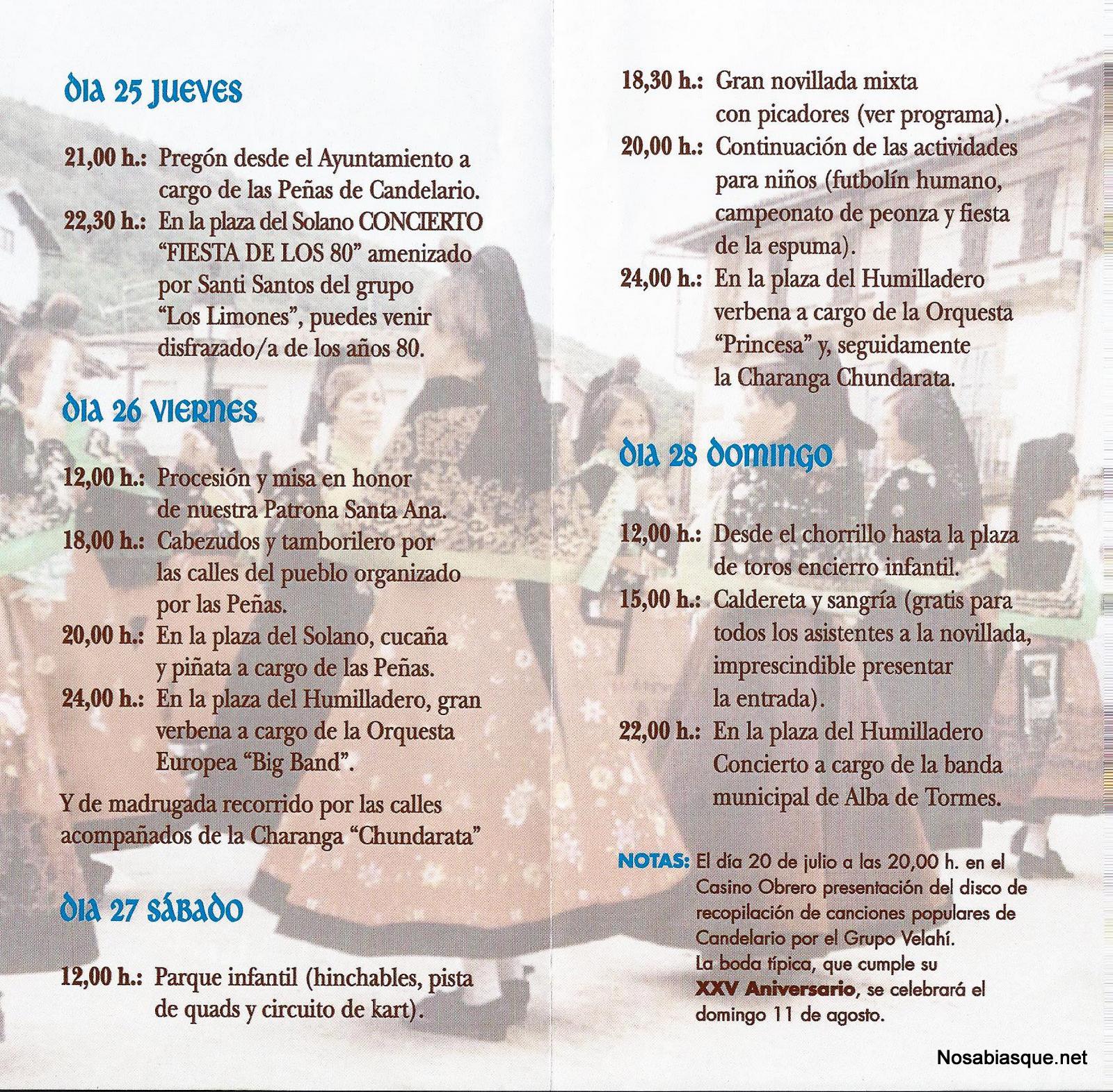Programa de fiestas 2013 de Candelario Salamanca