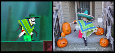 green skeleton, side-by-side pics, game and costume