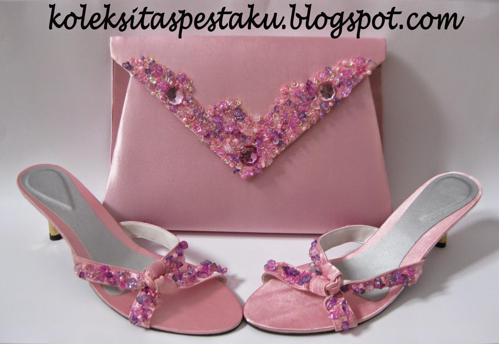 Pesanan customer warna pink tas pesta cantik mewah