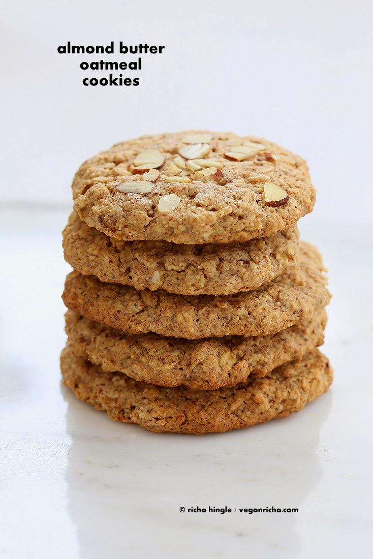 Almond Butter Oatmeal Breakfast Cookies. Vegan Gluten-free Oil-free ...