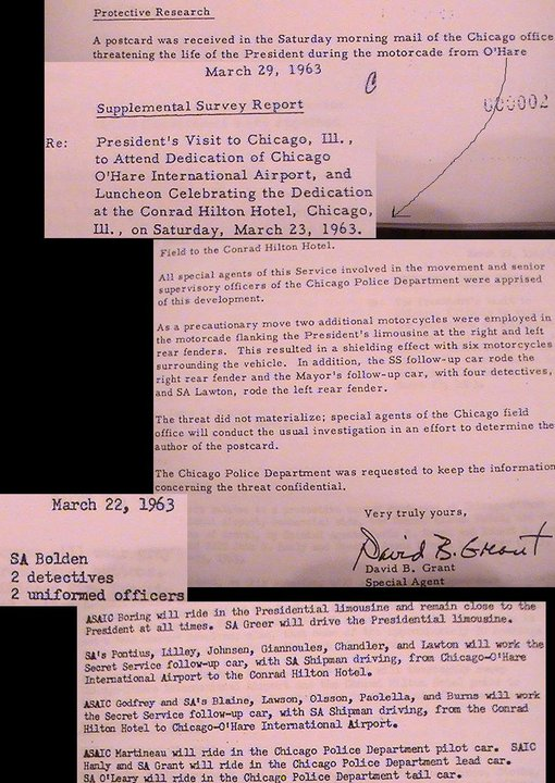 MARCH 1963 CHICAGO THREAT- AGENTS ON LIMO, BLAINE, BOLDEN, ETC