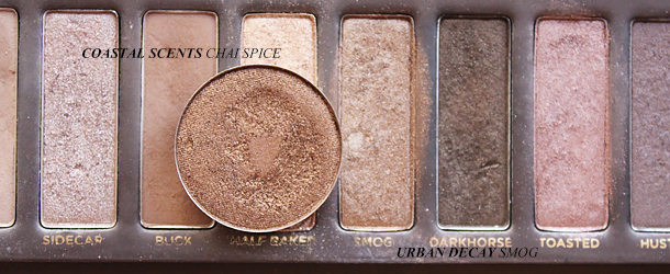urban decay smog eyeshadow dupe swatch comparison coastal scents chai spice