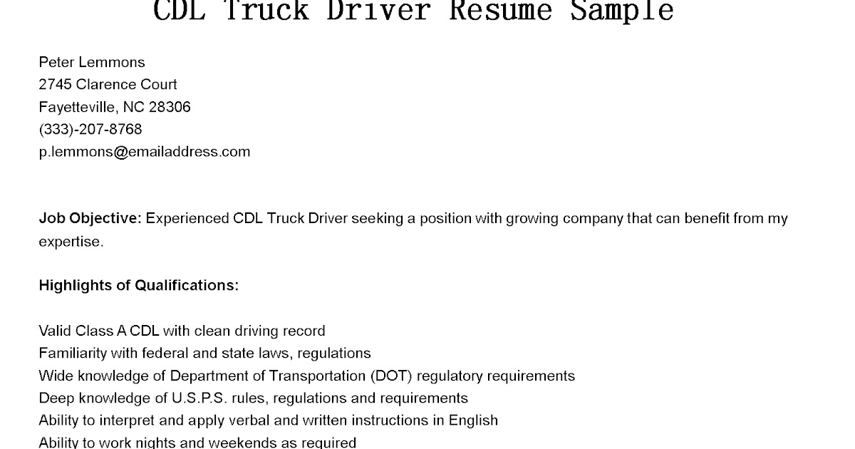 Objective of a truck driver resume