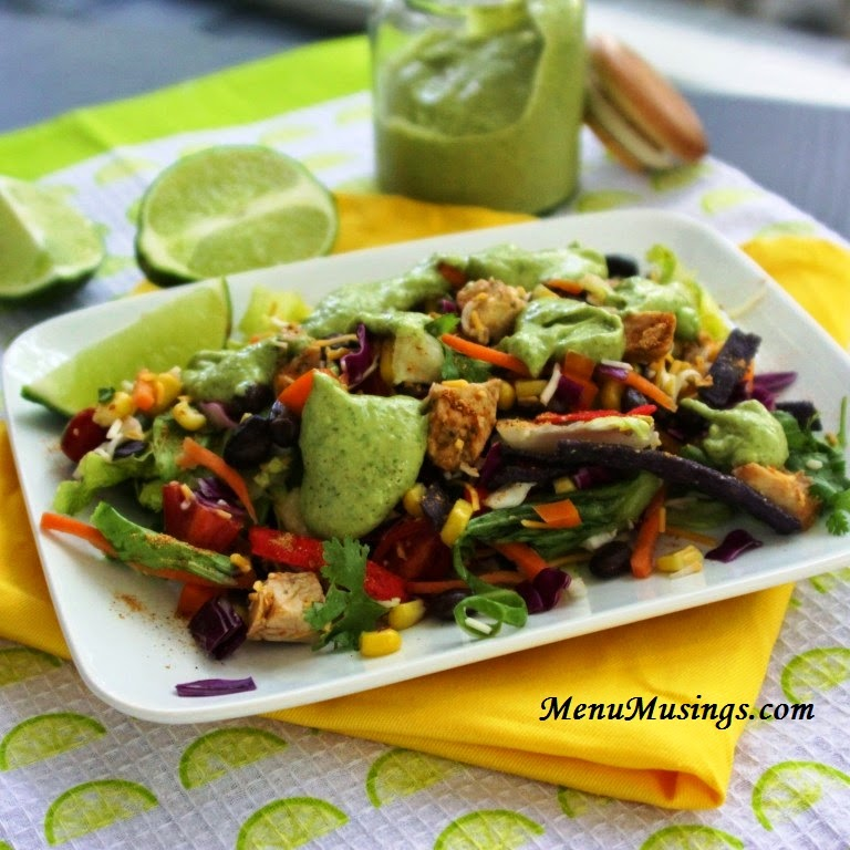Grilled Chicken Southwestern Chopped Salad with Creamy Cilantro Dressing @ menumusings.com