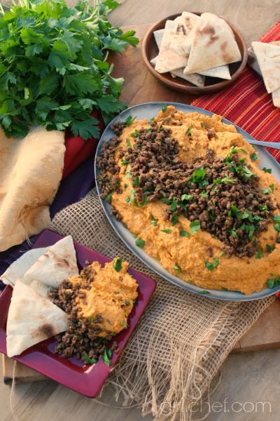 Pumpkin Hummus with Spiced Lamb from www.girlichef.com
