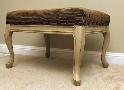 footstool reupholstery nailhead trim