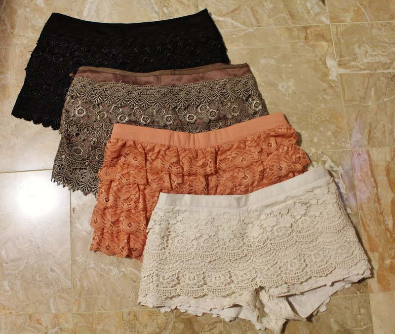 ... crochet shorts, f21 orange lace shorts, papaya cream crochet shorts