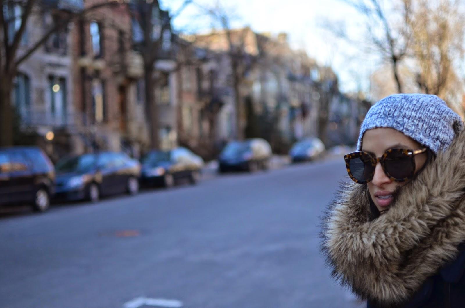 faux fur infinity scarf, karen waker sunglasses, karen walker super