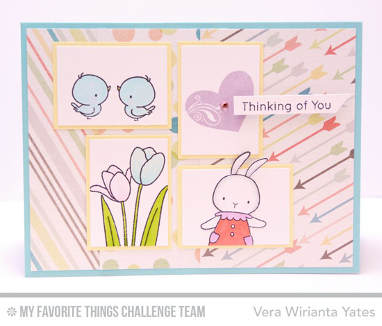 Springy Thinking of You Card from Vera Wirianta Yates featuring the BB Somebunny, LJD Spring Tulips, and LJD All My Love stamp sets