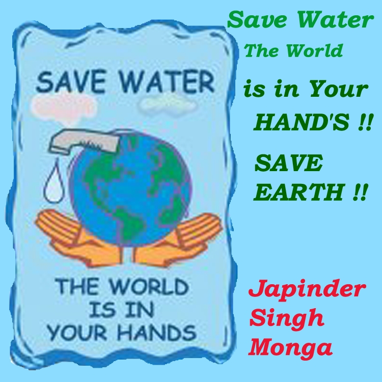 Earth awareness save water the world is your hand 39 s for How to save water in your house