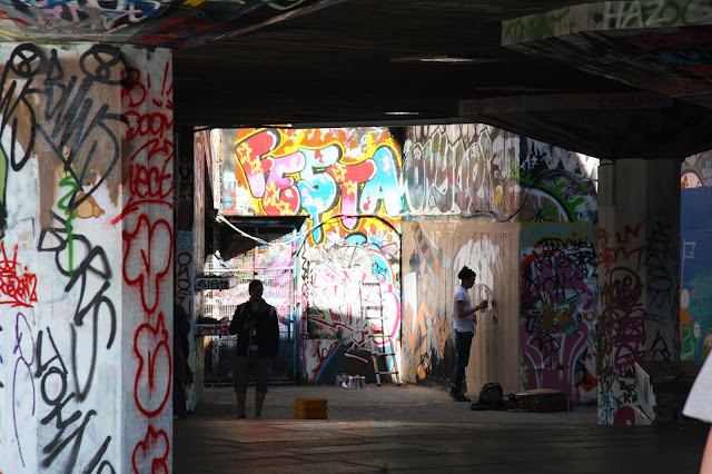 A Graffiti Artist at Work, South Bank Skate Park, London