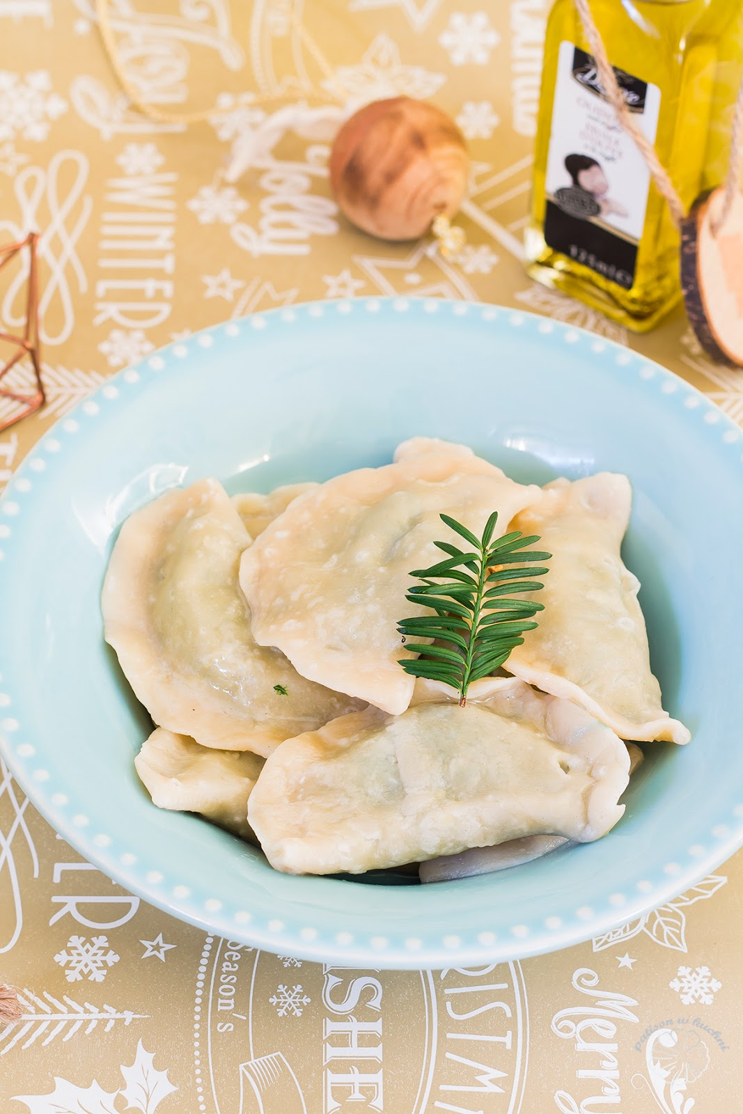 Dumplings with spinach.