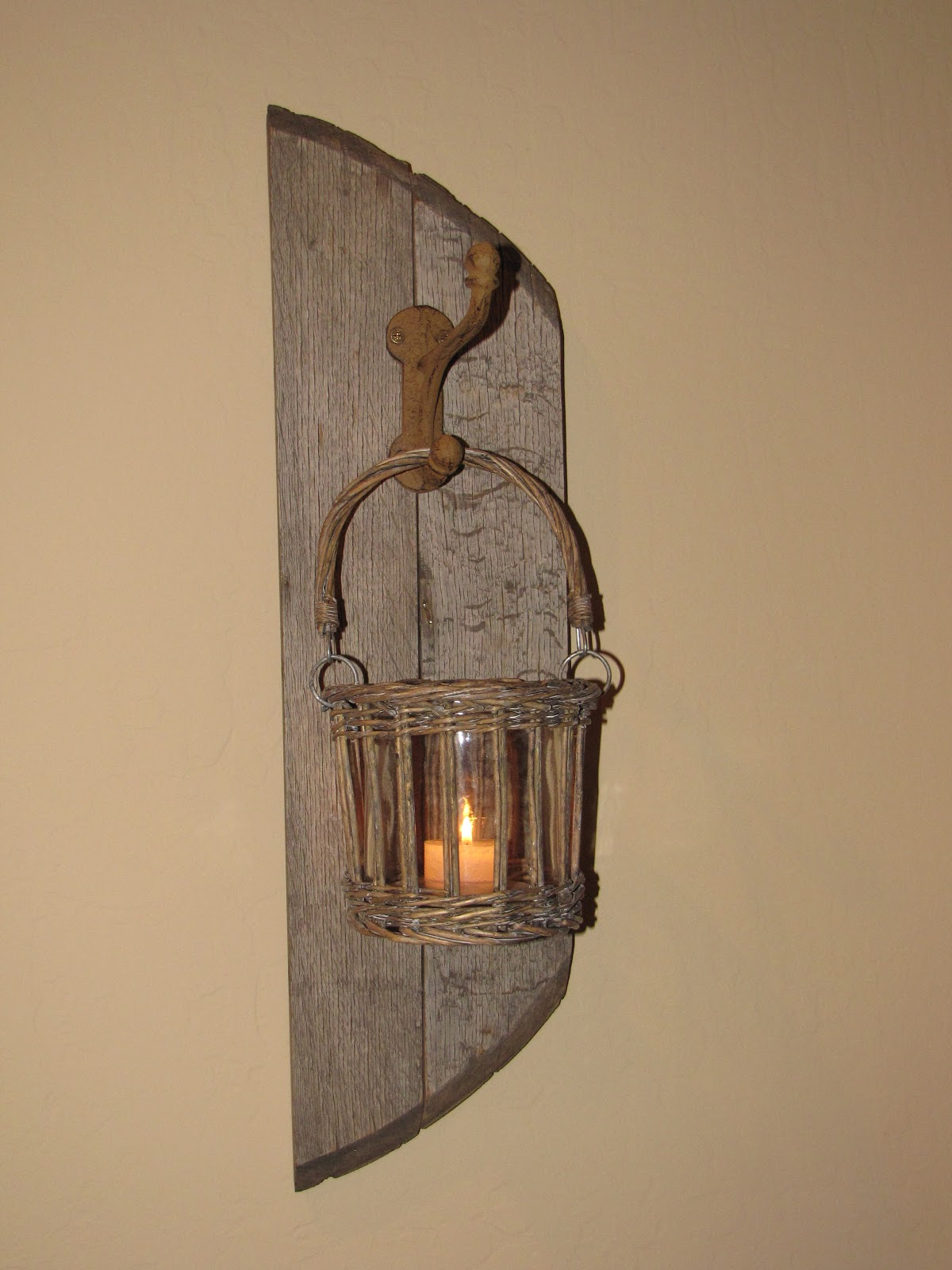 Wine Barrel Stave Candles More Retired Wine Barrel Sconce 40 Each
