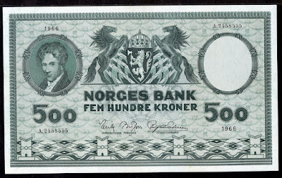 Norway currency 500 Kroner banknote