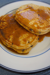 Peanut Butter Chocolate Chip Pancakes with Peanut Butter Syrup: Savory Sweet and Satisfying