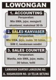 Lowongan Kerja Accounting & Sales Lampung
